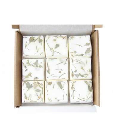 Rosemary and eucalyptus-scented melted wax