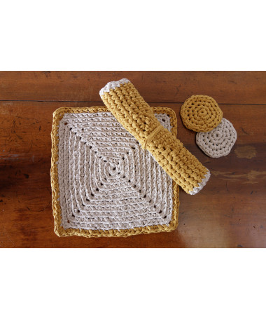 hand crocheted ocher and sand