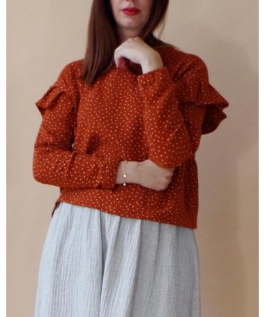 Polka dots blouse brick red in organic cotton